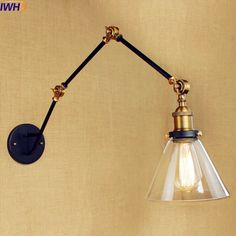 58.28$  Watch here - http://alicpp.shopchina.info/go.php?t=32808598786 - IWHD Glass Vintage Retro Wall Lights Wandlamp Loft Industrial Swing Long Arm Wall Lamp LED Stair Light Sconce Lampen Aplik Lamba 58.28$ #magazineonlinebeautiful