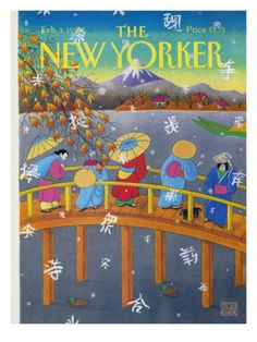 The New Yorker Cover - February 3, 1992  by Bob Knox. People in kimonos and umbrellas cross a bridge that overlooks Mt Fuji, as snow flakes of Japanese writing fall to the ground.