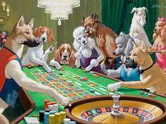 "Arthur Sarnoff Poster or Premium Canvas Print Funny Dogs Playing Pool /""Hustler/"""