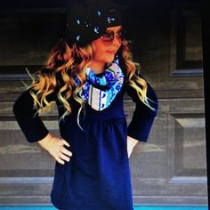 """"""" Girls Navy Skull Aztec 3pc. Boutique Outfit"""" ( 1-7 years) This complete 3 piece scarf set is absolutely adorable and perfect for the fall and winter.  The navy skull aztec print is so in right now and just stunning! Made of cotton/spandex."""