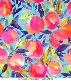 Bright seamless pattern with hand painted watercolor peaches. Stylish fruit design. - Shutterstock Premier