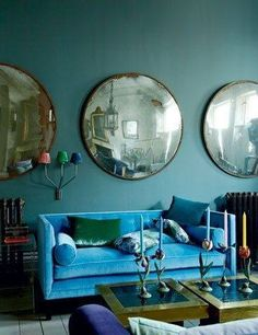 Blue room (and I really want these mirrors!)