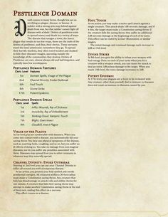 """dungeonmastersconsortium: """"Check it out! The new Pestilence Domain! Dungeons And Dragons Classes, Dungeons And Dragons Homebrew, Dnd Characters, Fantasy Characters, Cleric Domains, Dnd Cleric, Dnd Races, Dnd Classes, Dungeon Master's Guide"""