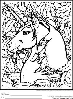 Advanced Coloring Pages Unicorn Is A Gorgeous View Of The Shoulders And Head Magnificent In Woods Behind Are Live Oak Trees