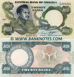 Nigeria 20 Naira 2001 - Front: General Murtala Ramat Muhammed November 1938 – 13 February Back: Nigerian Coat of Arms. Money Notes, Nigeria Africa, Old Money, Thinking Day, Note Paper, West Africa, Symbols, Stamp, World