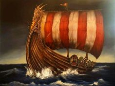 Oil on canvas Viking long ship