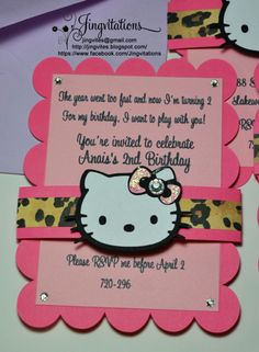 Hello Kitty Leopard Cheetah Birthday And Baby Shower Invitations
