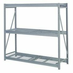 "Bulk Storage Rack Add-On, 3 Tier, Wire Decking, 84""Wx48""Dx72""H Blue by LYON WORKSPACE PRODUCTS. $517.00. Bulk Storage Rack Add-On, 3 Tier, Wire Decking, 84""Wx48""Dx72""H Blue Heavy gauge steel uprights and beams. Adjustable on 1-1/2"" centers. 1650-3300 lbs. capacity per pair of beams. Weight Capacity based on evenly distributed load. 10,000 lbs. per upright assembly."