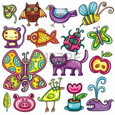 flora and fauna theme. cartoon vector set of colorful icons of animals birds and plants. doodle collection contains: leafs owl pigeon bumblebee monkey goldfish ladybug butterfly kitten apple Butterfly Illustration, Butterfly Drawing, Cute Illustration, Cartoon Drawing Images, Bird Doodle, Kitten Cartoon, Cartoon Birds, Animals Images, Caricatures