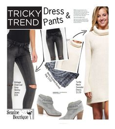 """""""Tricky Trend: Dress and Pants"""" by seaside-boutique ❤ liked on Polyvore featuring moda, rag & bone y vintage"""