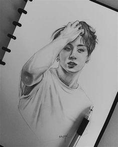 Kpop Drawings, Pencil Art Drawings, Cool Art Drawings, Art Drawings Sketches, Sunday Sketches, Jungkook Fanart, Kpop Fanart, Jimin, Celebrity Drawings