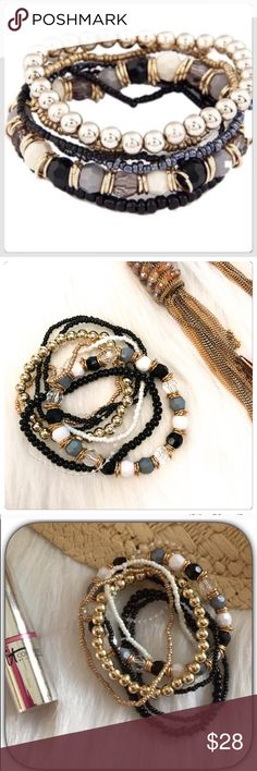 NWT Sweet Boho Black Assorted Beaded Bracelet I love this beaded bracelet! I have it in 3 colors! It has lots of beads on black, light blues and golds etc. This is a gorgeous set of bracelets! Boutique Jewelry Bracelets