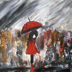 Girl In Red Raincoat Umbrella Rainy Day Acrylic Painting On Paper