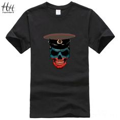 HanHent Army Skull Russian Style Brand Design Mens T shirt Rock Style…