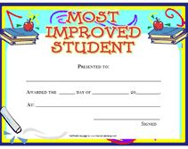 most improved student certificates