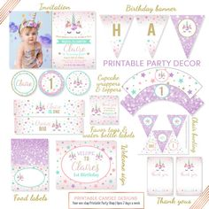 Unicorn Party Package Unicorn Party Decorations Pink Purple