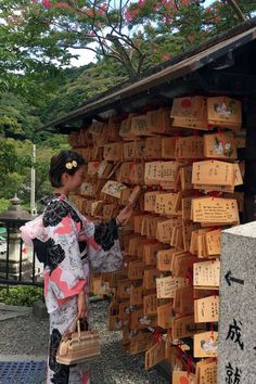 Kiyomizu-dera, Kyoto - Wooden plaques for worshippers to leave their prayers and wishes