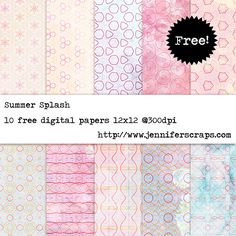 Summer Splash - Freebie Paper pack of the day. watercolor inspired scrapbook paper. commercial use ok.