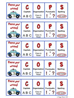 """Here is a cute and catchy, engaging, effective way for students to remember to edit their writing! """"Patrol Your Writing with COPS!"""" May easily be used for: self, peer, or teacher editing. I post these on my Writing Focus Wall and the students glue the bookmarks in their writing folders. $ #PrimaryFlourish #TeachersPayTeachers #WritingResources"""
