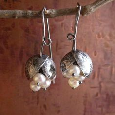 "Hand formed sterling silver discs are soldered to earwire, oxidized and gently brushed. Earrings measure 1 3\/8"" inches. Silver pod with pearls measures 1\/2"" W x 5\/8"" H. SHIPPING : international registered airmail up to 200g to worldwide is $6.50, insurance optional. I am always happy to combine shipping. PAYMENT : PayPal Only"