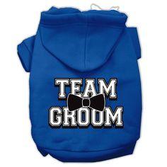 Team Groom Screen Print Pet Hoodies Blue Size Med (12)