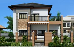 Marcelino Model is a a four bedroom two storey house that can be built in a x meter lot. With Patio at the front, the Balcony at the second floor serves as a shade. The living room is 25 sq. which opens to the dining and kitchen. Two Story House Design, 2 Storey House Design, Small House Design, Modern House Design, Modern Houses, Four Bedroom House Plans, Small House Floor Plans, Style At Home, Philippines House Design