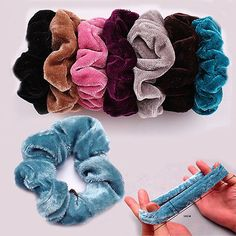 5pcs Colorful Velvet Scrunchie Ponytail Holder Hair Rope Ring Band Accessories