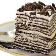 This chocolate crepe cake, with layers of whipped cream filling is fantastic!  . Dark Chocolate Crepe Cake   Recipe from Grandmothers Kitchen.