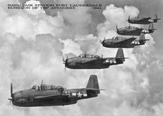 Naval Air Station Fort Lauderdale Echelon of Grumman TBF Avengers.