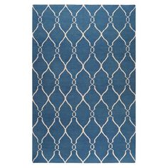 Create an eye-catching focal point in your foyer, den, or master suite with this artfully hand-woven wool rug, featuring an interlocking trellis motif in blu...