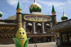 The Corn Palace in Mitchell, South Dakota.  On that classic coast-to-coast See-America-First drive in the family truckster, once you hit the Great Plains things begin to seem a little slow -- it's just such a long way between cities. That's the appeal of the Corn Palace, sitting right off South Dakota's long east-west stretch of I-90. You have to get off the road somewhere, and when you do, it might as well be somewhere that makes you blink your eyes in wonder.