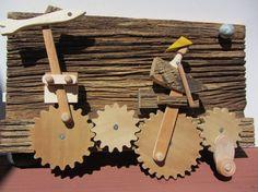 "Handmade Original Automata Found Object Assemblage - ""Shark Bait"""