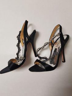 60c64401437b Badgley Mischka sophisticated black high heels size 6 1 2 with crystal bids   fashion