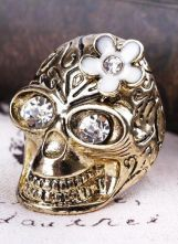 Gold Crystal Flower Skull Ring $9  #SheInside