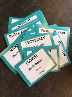Career Exploration For fun! Game where students hold cards up to their head and others have to describe the job title, without using the hush words. Allows for counselor to see how aware students are School Counselor Lessons, Elementary School Counseling, Elementary Schools, High Schools, Counseling Activities, Career Counseling, Education College, Vocational Activities, Physical Education