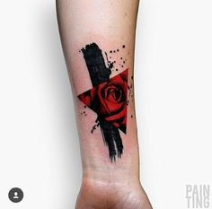 black, red, triangle, rose, dots, hand, tatoo
