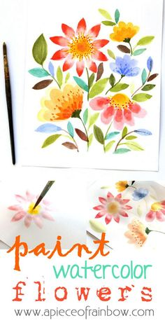 How pretty are these? Learn a new craft skill. Easy and detailed tutorial on how to paint these watercolor flowers in 15 minutes. | by A Piece Of Rainbow