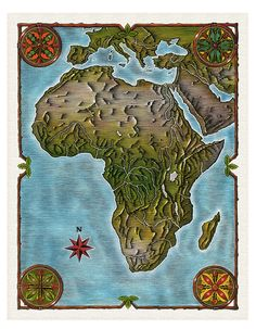 Map of Africa, ilustrated by Steven Noble on Behance
