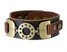 Thick Buckle Bronze Leather Bracelet