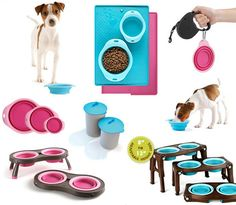 Popware for Pets collection of pet dining accessories includes collapsible bowls and travel cups, can lids, mats, and collapsible and adjustable raised feeders.