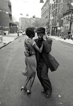 Dancers in Mott Haven, The Bronx, August 1956, near grandma's house.  Photograph by David Gonzales