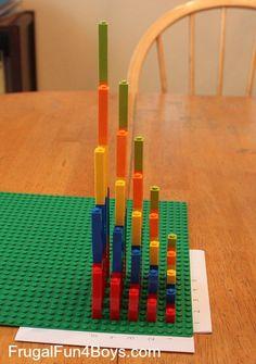 Hands-on Multiplication with Legos (A Graph!) - Frugal Fun For Boys and Girls Lego Math, Math Multiplication, Math Classroom, Lego Activities, Math Resources, Craft Activities For Kids, Math For Kids, Fun Math, Legos