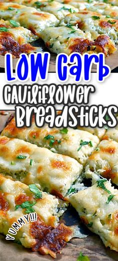 Low Carb Cauliflower Breadsticks with fresh herbs, garlic & lots of ooey gooey cheese looks and tastes like cheesy bread! Cauliflower Breadsticks, Cauliflower Recipes, Vegetable Recipes, Vegetarian Recipes, Chicken Recipes, Cauliflower Pizza, Veggie Food, Low Carb Recipes, Cooking Recipes