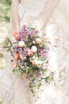 Blush pink tulip and lavender wedding bouquet. Tulip Bridal Bouquet, Cascading Wedding Bouquets, Cascade Bouquet, Bride Bouquets, Bridal Flowers, Floral Bouquets, Spring Bouquet, Pastel Bouquet, Bridesmaid Bouquets