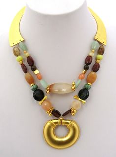 CL151 Beaded Necklace, Jewels, Fashion, Gold Plating, Bead Necklaces, Natural Stones, Beaded Collar, Moda, Pearl Necklace