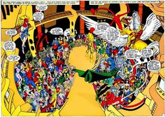 Alexander Luthor gathers the heroes of the multiverse to battle the Anti-Monitor.  Art by George Pérez.