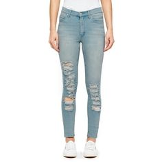 Cheap Monday Women's 'Second Skin' High Waisted Skinny Jeans (51 AUD) ❤ liked on Polyvore featuring jeans, pants, bottoms, blue, super stretch skinny jeans, high-waisted jeans, destroyed skinny jeans, ripped skinny jeans and super skinny jeans