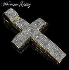 249 Mens Simulate BLACK Diamond 14k BLK Gold GP Hip Hop Cross