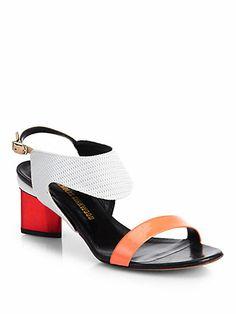 Nicholas Kirkwood - Mixed Media Chrome-Heel Sandals - Saks.com