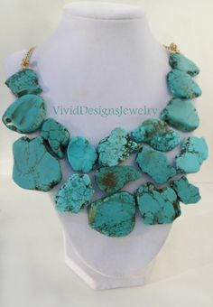 Turquoise Statement Necklace  Anthropologie by VividDesignsJewelry, $69.00